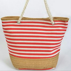 🌞NWT🌞Red Canvas + Straw Summer Beach Tote